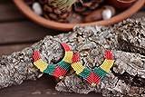 Pendientes aro color rojo amarillo verde bandera rasta rastafari africanos