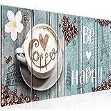 Bilder Küche Kaffee Wandbild 150 x 60 cm Vlies - Leinwand Bild XXL Format Wandbilder Wohnzimmer Wohnung Deko Kunstdrucke Blau 5 Teilig - MADE IN GERMANY - Fertig zum Aufhängen 020756c
