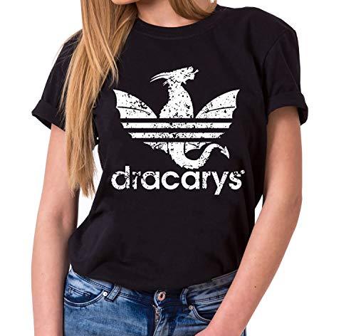 Dracarys Dragon - T-Shirt Damen Targaryen Thrones Game of stark Lannister Baratheon Daenerys Khaleesi tv blu-ray DVD, Farbe:Schwarz, (Khaleesi Aus)
