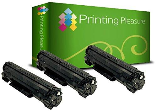 Printing Pleasure 3 Compatibles Cartuchos de tóner para HP Laserjet M1536 MFP M1536DNF P1560 P1566 P1600 P1606 P1606DN Canon LBP-6200D LBP-6200DW LBP-6230D LBP-6230DW - Negro, Alta Capacidad