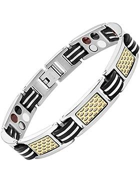 Willis Judd Herren-Magnetarmband Titan 4Elements Armband mit zwei Ton und Schwarz Gummi mit Link Entferner Werkzeug...