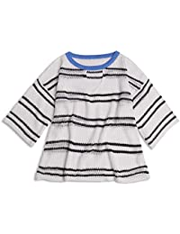 SGHTRHXUT suéter Suéter de Punto a Rayas, Delgado, de Manga Media, Suelto, Blanco, código Uniforme