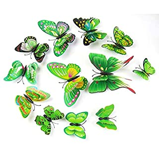 JSGJQQTT Wandaufkleber 12 Teile/los PVC Schmetterling Aufkleber 3D WandaufkleberAusgangsdekorPoster für Kinderzimmer Klebstoff an der Wanddekoration Adesiv2017 s29
