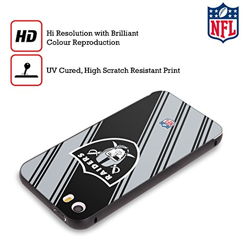 Ufficiale NFL Pattern 2017/18 Oakland Raiders Nero Cover Contorno con Bumper in Alluminio per Apple iPhone 5 / 5s / SE Righe