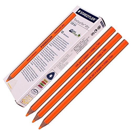 Staedtler Textsurfer Dry Highlighter Pencil 12864Drawing for writing Sketching inkjet, paper, Copy, fax (confezione da 12arancione)