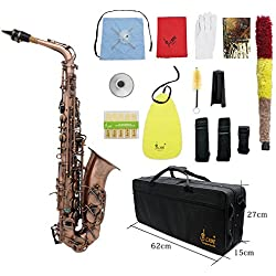 ammoon Professionnel Rouge Bronze Bend Eb E-plat Motif Saxophone Alto Sax Abalone Shell Touches Carve avec des Gants de Cas Chiffon de Nettoyage Sangles Grease Brush