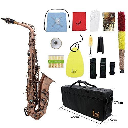 ammoon Profi-Saxophon Rotguss S-Bogen E flat Altsaxophon Alto Blasinstrument Abalonemuschelklappen Gravur mit Kasten Mundstück Handschuhen einigungstuch Gurten Fett Bürste