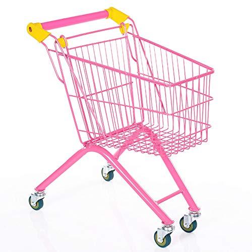 ASDFNF Einkaufswagen Kindersupermarkt Spielzeugauto Tragbarer Kinderwagen (Color : Pink)