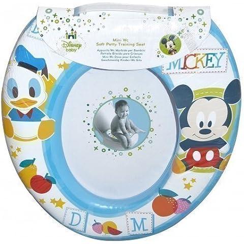 Disney Mickey Mouse Sedile riduttore wc imbottito, per imparare a usare il vasino, colore blu