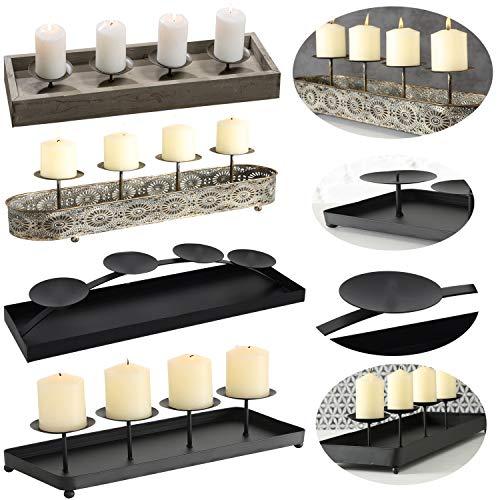 LS-LebenStil Kerzenhalter Holz 53cm Grau Braun Advent Kerzen-Tablett Kerzenschale