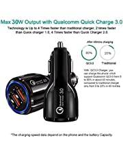 2020 POWERFIX 5.4 AMP/ 30W Dual USB Fast Car Charger Adapter - Qualcomm Quick Charge 3.0 Certified - Compatible with iPhone - Samsung -LG- Nexus -MI -Oneplus & More(All Android Devices)