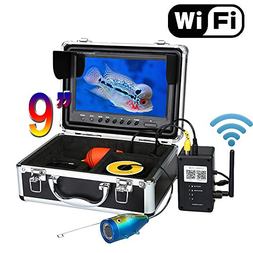WG 9 '' WiFi Fish Finder Video Kamera Aufnahme Edition HD 1000TVL Unterwasser Eisfischen Kamera Fishfinder Nachtsicht,White30M