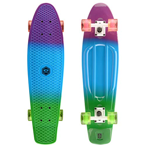 Osprey Dip Dye Complete Retro Plastic Mini Cruiser Skateboard, Multicolour, 27 Inch, 59 x 45 mm Wheels