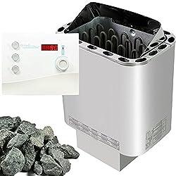 Sawo Nordex Saunaofen 9 kW + Saunasteuerung Sentiotec K2 für die finnische Sauna + Steine