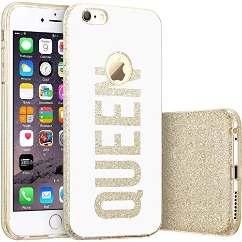finoo | iPhone 7 Goldene bedruckte Rundum 3 in 1 Glitzer Bling Bling Handy-Hülle | Silikon Schutz-hülle + Glitzer + PP Hülle | Weicher TPU Bumper Case Cover | Queen Black Queen White