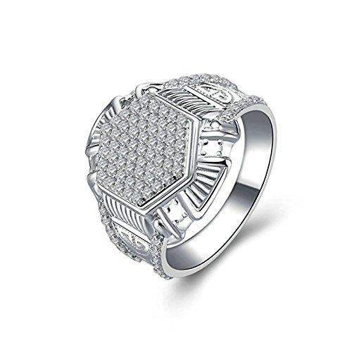 SonMo Solitär 925 Sterling Silber Solitär Ringe Weiß Damen Ring Diamant Zirkonia Paarringe Eheringe Heiratsantrag Ring Damen Ring Größe 66 (21.0)