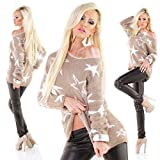 Moda Italy Soft Long Exclusive Multistars Pullover (Beige Weiss)