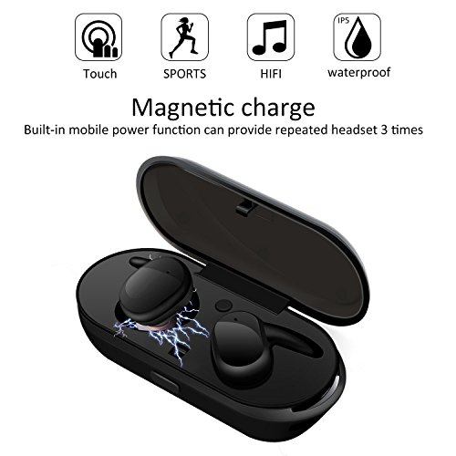 Funk-kopfhörer 6 Phone I (Mini Bluetooth Kopfhörer, ELEGIANT True Wireless TWS Kopfhörer Headset Touch Steuerung Ohrhörer IPX5 Wasserdicht In Ear Earphones Headphones Earbuds mit Tragbare drahtlose Ladestation Eingebautes Mikrofon Kompatibel mit iphone 8 7 7 6s 6 Plus ipad Samsung S8 S8+ S7 S6 HTC Huawei LG Xiaomi android ios Smartphone)