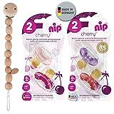 NIP Cherry Rundsauger Schnuller 4 Stück Girl Set // Gr.2 // 6 + Monate // Creme & Pink + Lila & Rot