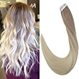 LaaVoo 16 Pouce Bande Adhesive Extension Cheveux Glue in Human Hair Extensions Skin Weft Droit Naturel Cendre Blonde Mixte Blond Platine Tape in Humain Hair Extensions 50g/20pcs