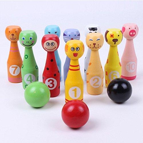 Ebeta Mini Tier Bowlingkugel Kegelspiel Bowling Set für Kinder Bowling Holzspielzeug Pädagogische Interaktive Baby Hands-on Fähigkeit entwickeln Kinder Geburtstag Geschenk