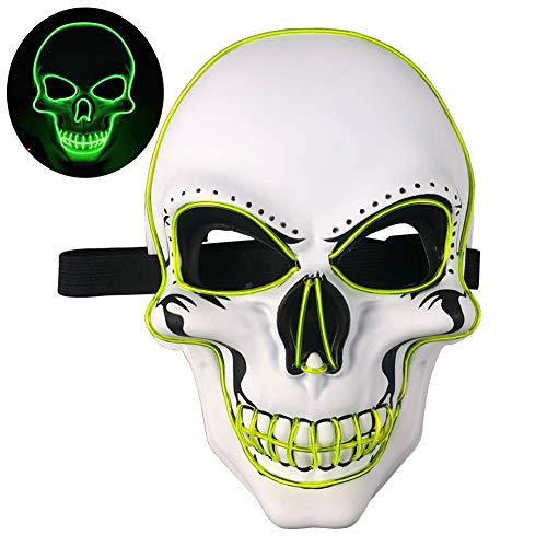 WLXW LED Tactical Skull Leuchtende Maske, CS War Game Enemy Und I Identify Light, Airsoft Paintball Shooting Jagdschutz, Halloween Cosplay Kostümparty Maske,Grün (Green Mann Kostüm Für Verkauf)