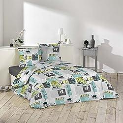 Douceur d'Intérieur Bettwäsche Bettbezug, Polyester, blau, 220x 240cm