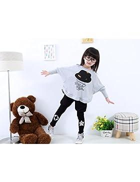 PHILNA12bambina cappello modello ala di pipistrello sciolto camicetta maglietta tops con leggings vestiti set...