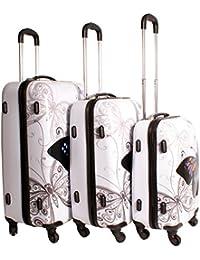 2408 mariposa blanco Suitcase Multicolor diseño juego de 3 maletas – Super ligera 4 ruedas – equipaje de Funky – Juego de carcasa rígida de plástico