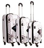 Butterfly White Schmetterling Suitcase Multicolour Design Set von 3 Koffer - Super Lightweight 4 Räder - Funky Gepäck Set - Hartplastik