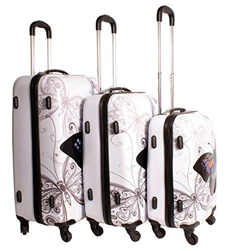 2408mariposa blanco Suitcase Multicolor diseño juego de 3maletas