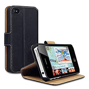 Black iPhone 4S / iPhone 4 Low Profile Covert Branded PU Leather Wallet Case / Cover / Pouch