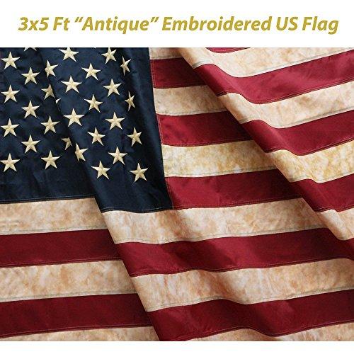 Anley [Vintage Style Tee Befleckte Betsy Ross Flag 3X5 Fuß Nylon - Gestickte Stars and Stripes Genäht - 4 Reihen Von Lock-Stitching antike usa