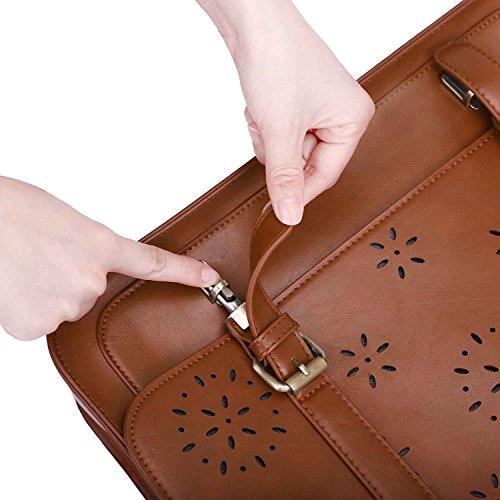 ECOSUSI Borsa Messenger in Pelle Pu Borsa Vintage Borsa a Tracolla per Laptop 14 Pollici (Caffè) Marrone