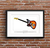 George Morgan Illustration Kurt Cobain's Fender Jaguar Gitarre Limitierte Fine Art Print A3-Format