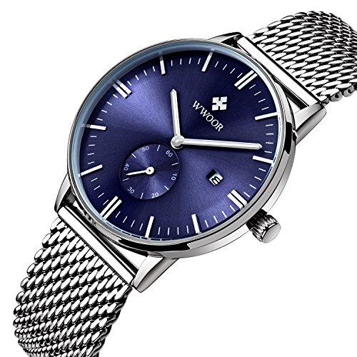 Herren Luxus Edelstahl Mesh Band Uhr mit Datum männlich Casual Kleid Sport Handgelenk Uhren blau