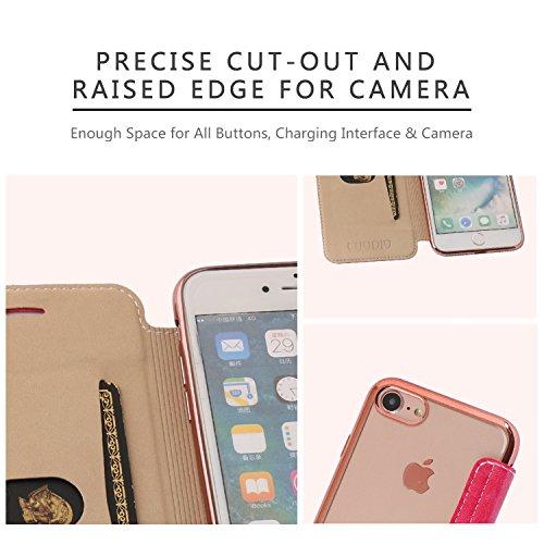 iPhone 6S Plus Hülle, iPhone 6 Plus Lederhülle, Coodio Ledertasche Handyhülle Wallet Brieftasche Tasche mit Kartenfach Schutzhülle Silikon Durchsichtig für iPhone 6S Plus / 6 Plus - Schwarz Rose