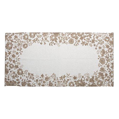 Montemaggi tappeto rettangolare in cotone beige decorato con bellissime stampe a fiori beige in stile shabby chic perfetto per decorare la vostra cucina ingresso o soggiorno. dimensioni: 70x140 cm