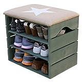 Meuble Chaussures (Vert Kaki), Banc de Rangement pour Chaussures avec ÉTAGÈRES. Assise Confortable en Tissu. Bois Massif Scandinave - Liza - 51 x 45 x 36 cm (Étoile Blanche)