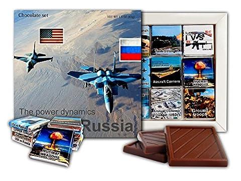 DA SCHOKOLADE ★ USA gegen Russland Die Power Dynamics ★ Schokolade Geschenk Set Politische Süßigkeiten Gag Geschenk Idee ★ 9 dunkle Schokolade Stücke 13,5x13,5 cm Box (Flugzeug)