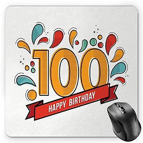 y Mauspads, Grannies Lived for Centuries 100 Birthday Party Growing Old Digital Image, Standard Size Rectangle Non-Slip Rubber Mousepad, Multicolor ()