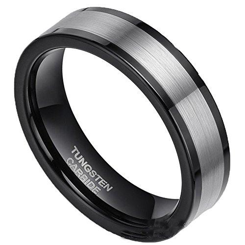 COPAUL Herren Wolfram 6MM gebürstet Schwarz Ring Komfort Fit Hochzeit Band, Größe 72 (22.9) (Wolfram 6mm Hochzeit Band)