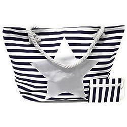 BRANDELIA Bolsos de Playa Grandes con Cremallera de Mujer para Verano + GRATIS Monedero Estilo Marinero con Rayas, Estrella Plateada
