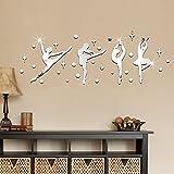 CHKHO&T 1 satz 3D Ballerina mädchen Spiegel Seite Entfernbare Wandaufkleber Kunst / DIY Aufkleber Wohnkultur, 36 * 100 cm , silver 36*100cm