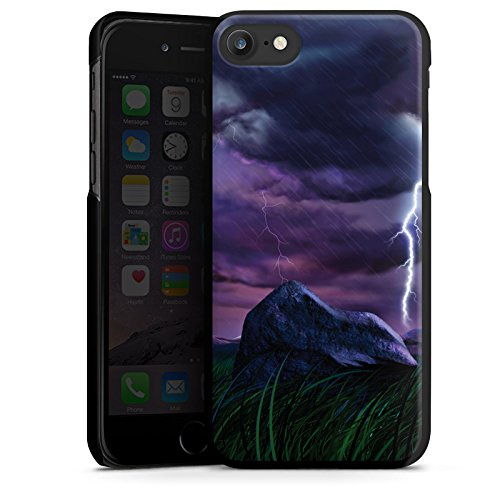 Apple iPhone X Silikon Hülle Case Schutzhülle Lila Blitz Gewitter Hard Case schwarz