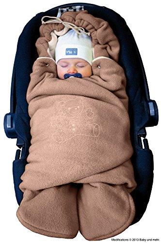 ByBoom® - Manta arrullo de invierno para bebé, es ideal para sillas de coche (p.ej. de las marcas Maxi-Cosi y Römer), para cochecitos de bebé, sillas de paseo o cunas; LA MANTA ARRULLO ORIGINAL CON EL OSO, Color:Marrón Claro/Beige