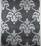 Glitzer Tapete Schwarz Silber Grau Strukturiertes Vinyl Damast Paste zum Wand