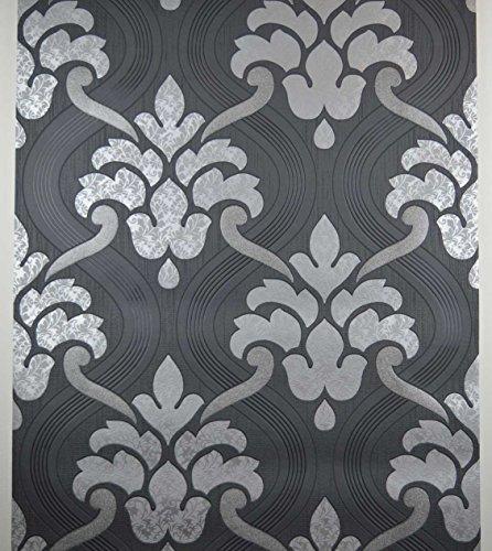 schwarz-silber-glitzer-tapete-strukturiertes-vinyl-damast-paste-an-der-wand