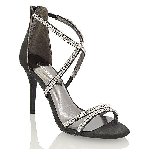 Essex Glam Nero Satinato sandali tacco alto a spillo Diamante delle donne EU 36