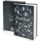 DIY Rezeptbuch klein zum Selberschreiben SCHWARZ WEISS Vintage Nostalgie DIN A5 HARDCOVER Kochbuch Buch zum Meine Rezepte und Lieblingsrezepte einschreiben - Geschenk Küche Kochen Essen